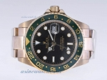 Cheap replica Rolex GMT-Master II Automatic Full Gold with Black Dial Green Bezel