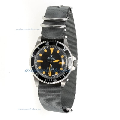 Cheap Rolex Submariner Automatic Black Dial with Gray Nylon Strap-Vintage Edition on sale