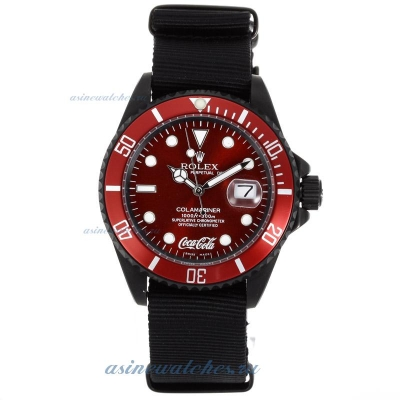 Cheap Rolex Submariner Coca Cola Automatic PVD Case with Red Dial and Bezel-Nylon Strap on sale