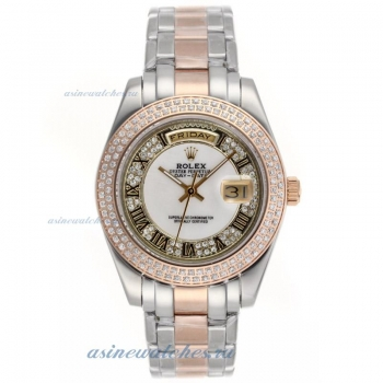 Cheap replica Rolex Masterpiece II Automatic Two Tone Diamond Bezel Roman Markers with MOP Dial onli