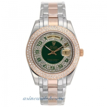 Cheap replica Rolex Masterpiece II Automatic Two Tone Diamond Bezel with Green Number Markers and Di