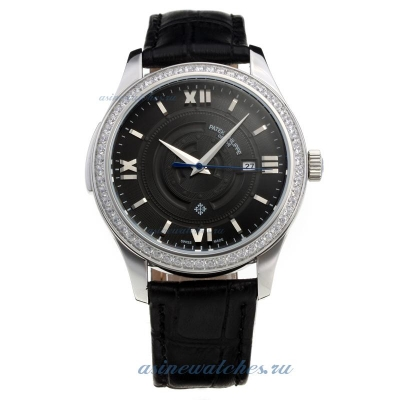 Replica Patek Philippe Diamond Bezel with Gray Dial-Leather Strap online