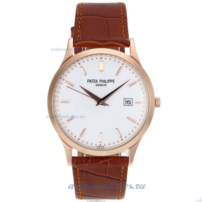 Replica Patek Philippe Classic Rose Gold Case with White Dial Leather Strap-2 online