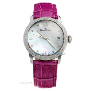 Blancpain Diamond Bezel with MOP Dial-Purple Leather Strap on sale