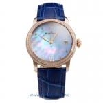 Blancpain Rose Gold Case Diamond Bezel with Black MOP Dial-Blue Leather Strap-1 on sale