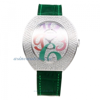 Cheap designer Franck Muller Conquistador Diamond Bezel and Dial with Green Leather Strap