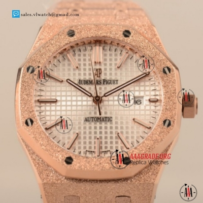 Cheap Audemars Piguet Royal Oak 3120 Auto Rose Gold Case with White Dial For Sale - (EF)