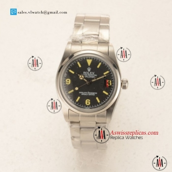 Rolex Explorer Steel Case Steel Bezel with Black Dial For Sale