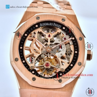 Audemars Piguet Royal Oak Skeleton Tourbillon Swiss Tourbillon Manual Winding Rose Gold Case With Skeleton Dial For Sale
