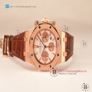 Audemars Piguet Royal Oak Chrono Rose Gold Case White Dial 7750 Automatic Brown Leather