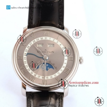 BlancPain Villeret Moonphase & Complete Calendar 9015 Auto Steel Case With Grey Dial For Sale