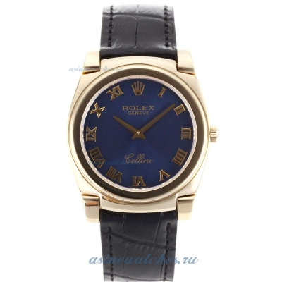 Cheap replica Rolex Cellini Full Gold Case Roman Markers with Blue Dial Black Leather Strap online