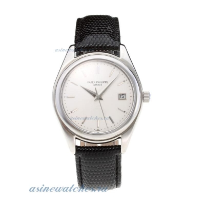 Replica Patek Philippe Swiss ETA 2824 Movement with White Dial Leather Strap online