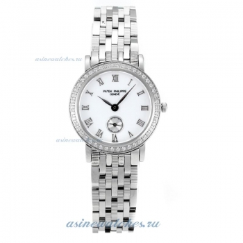 Replica Patek Philippe Classic Diamond Bezel with White Dial S/S-Sapphire Glass-1 online