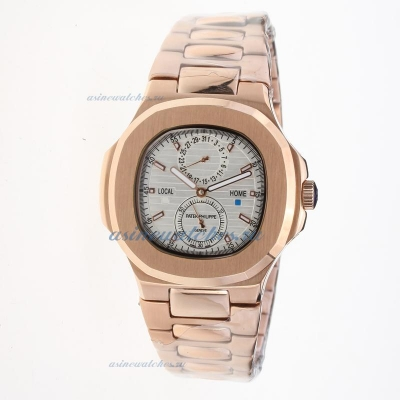 Replica Patek Philippe Nautilus Automatic Full Rose Gold with Silver Dial online