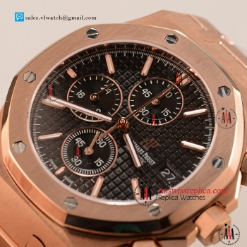 Cheap Audemars Piguet Royal Oak Chronograph Miyota OS10 Quartz Rose Gold Case with Black Dial For Sale