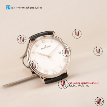 1:1 BlancPain Villeret Ultraplate Remontage Automatique 9015 Auto Steel Case with White Dial For Sale (ZF)