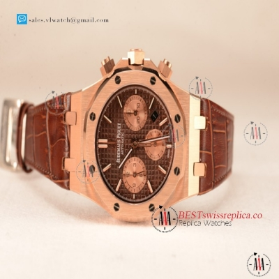 Audemars Piguet Royal Oak Chrono Rose Gold Case With Brown Dial 7750 Automatic Brown Leather 26331OR.OO.D821CR.01