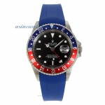 Cheap replica Rolex GMT-Master II Swiss ETA 2836 Movement Blue/Red Bezel with Black Dial Blue Rubber
