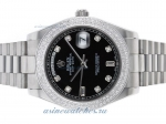 Cheap replica Rolex Day-Date II Automatic Diamond Bezel and Markers with Black Dial online