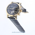 Replica Patek Philippe Perpetual Calendar Tourbillon Automatic Gold Case with Black Dial-Leather Str