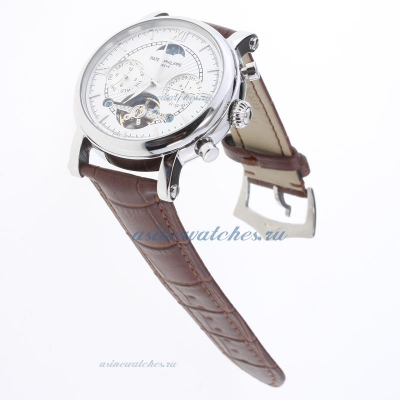 Replica Patek Philippe Perpetual Calendar Tourbillon Automatic with White Dial-Leather Strap-2 onlin