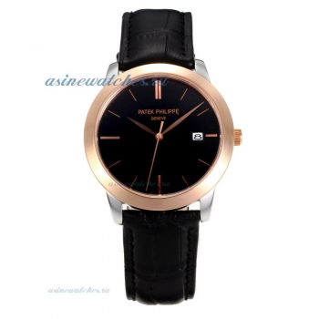 Replica Patek Philippe Classic Rose Gold Case with Black Dial Sapphire Glass online