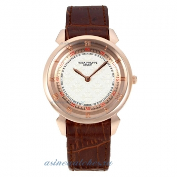 Replica Patek Philippe Classic Rose Gold Case with White Dial Brown Leather Strap online