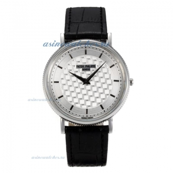 Replica Patek Philippe Classic Stick Markers with Silver Dial Black Leather Strap online