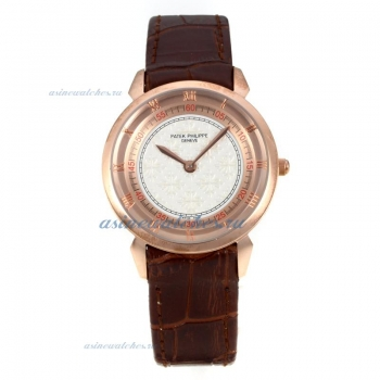 Replica Patek Philippe Classic Rose Gold Case with White Dial Brown Leather Strap-1 online