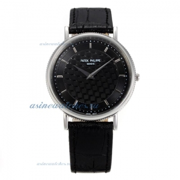 Replica Patek Philippe Classic Stick Markers with Black Dial Black Leather Strap online