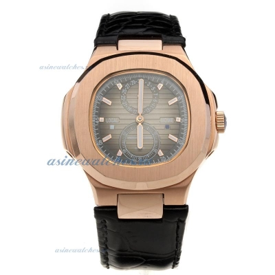 Replica Patek Philippe Nautilus Automatic Rose Gold Case with Gray Dial-Leather Strap online