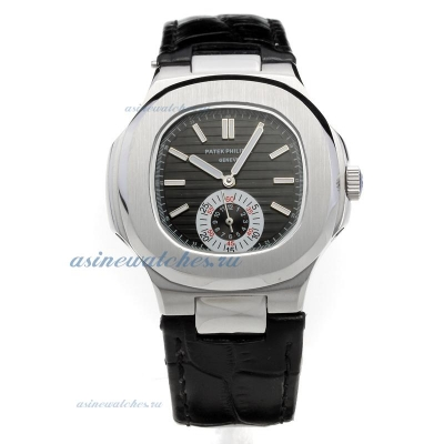Replica Patek Philippe Nautilus Automatic with Black Dial-Leather Strap-1 online