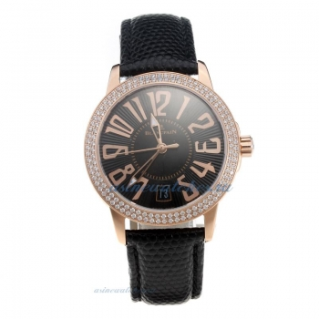 Blancpain Swiss ETA 2836 Movement Rose Gold Case Diamond Bezel With Black Dial Black Leather Strap o
