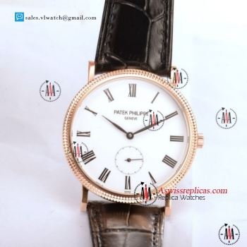 Patek Philippe Calatrava 9015 Auto Rose Gold Case With White Dial For Sale