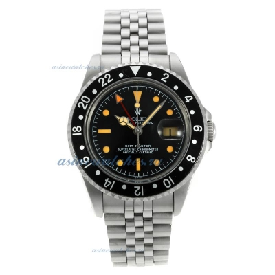 Cheap replica Rolex GMT-Master Swiss ETA 2836 Movement Vintage Edition with Black Dial and Bezel-Ora