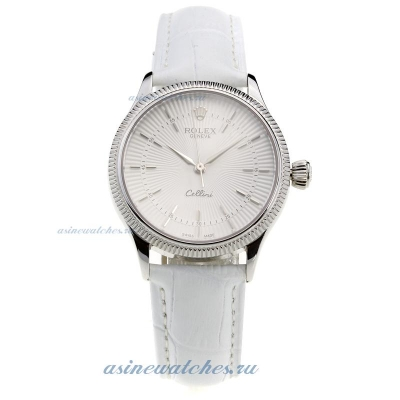 Cheap replica Rolex Cellini White Dial with White Leather Strap-Lady Size online