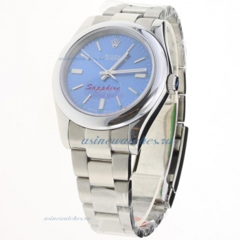 Rolex Oyster Perpetual Automatic Stick Markers with Blue Dial S/S-1