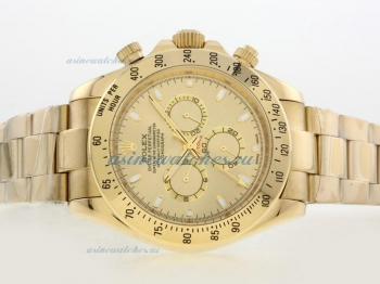 Cheap replica Rolex Daytona II Automatic Full Gold with Golden Dial/Stick Marking-42mm Version onlin
