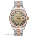 Cheap replica Rolex Masterpiece II Automatic Two Tone with Diamond Bezel and Golden Dial Roman Marke