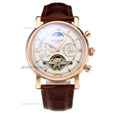 Replica Patek Philippe Classic Automatic Tourbillon Rose Gold Case with White Dial-Leather Strap onl