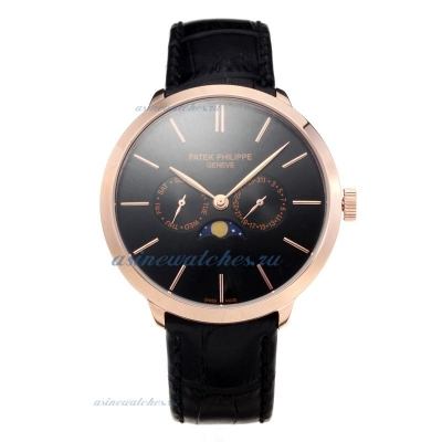 Replica Patek Philippe Rose Gold Case with Black Dial Leather Strap-1 online