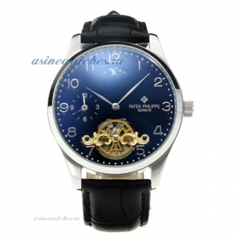 Replica Patek Philippe Automatic Two Time Zone Tourbillion with Black Dial Leather Strap online