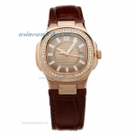 Replica Patek Philippe Nautilus Rose Gold Case Diamond Bezel Brown Dial with Leather Strap-Lady Size