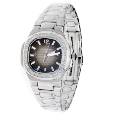 Replica Patek Philippe Nautilus Diamond Bezel with Dark Gray Dial S/S-Lady Size online