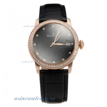 Blancpain Rose Gold Case Diamond Bezel with Black Dial-Black Leather Strap on sale