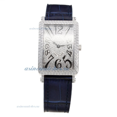 Cheap designer Franck Muller Long Island Diamond Bezel and Dial with Blue Leather Strap