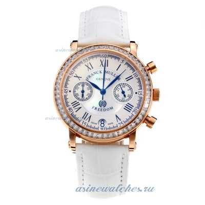 Cheap designer Frank Muller Master Square Working Chronograph Diamond Bezel Rose Gold Case with Whit