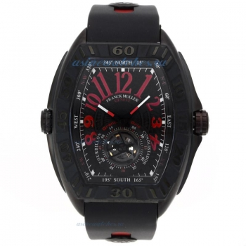 Cheap designer Franck Muller Conquistador Tourbillon Automatic PVD Case Red Markers with Black Dial