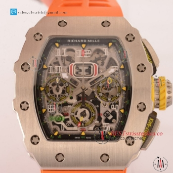 Richard Mille RM11-03 Swiss Valjoux 7750 Auto Steel Case With Orange Rubber Strap For Sale - (KV)